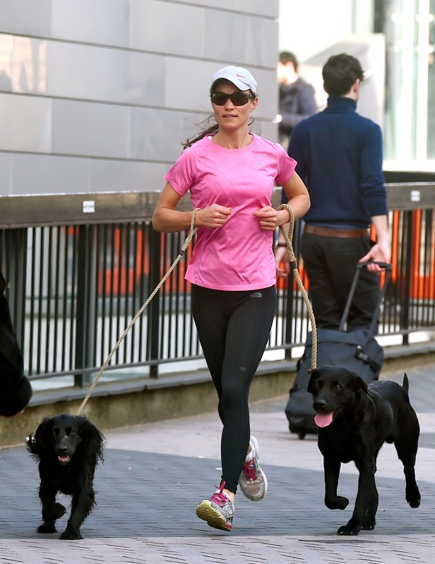 Pippa Middleton running with dogs