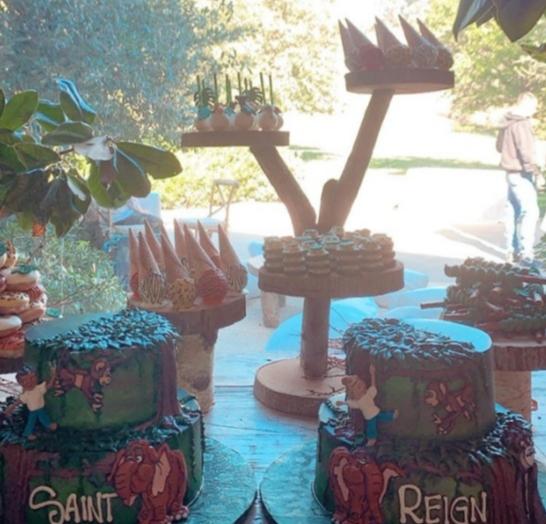 Enjoyable Saint West Reign Disick Share A Tarzan Themed Birthday Bash Funny Birthday Cards Online Fluifree Goldxyz