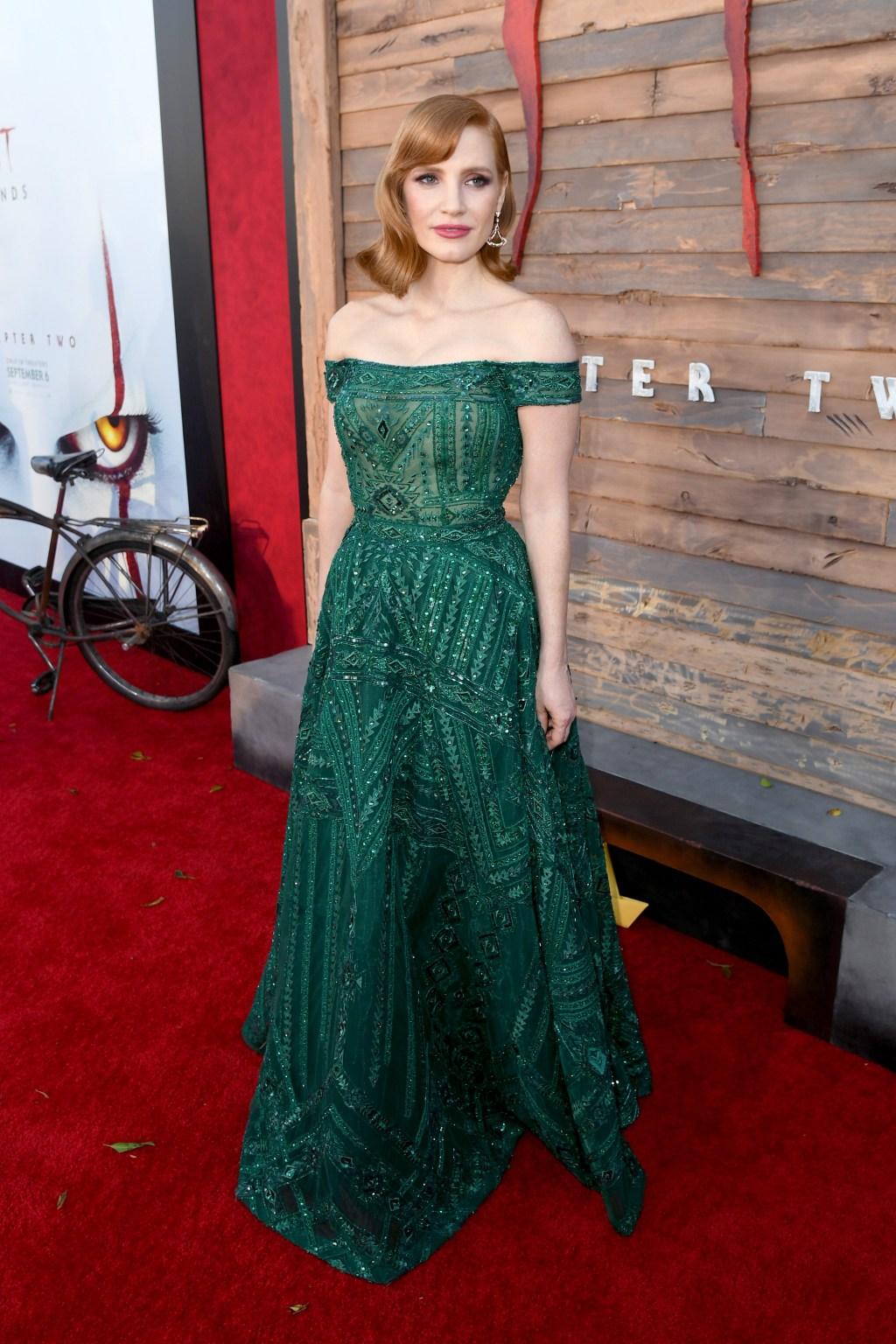 Jessica Chastain green dress