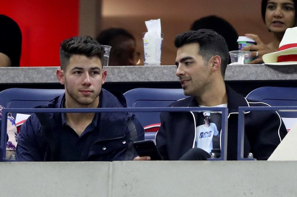 Joe Jonas and Nick Jonas attend the 2019 US Open on September 6, 2019.