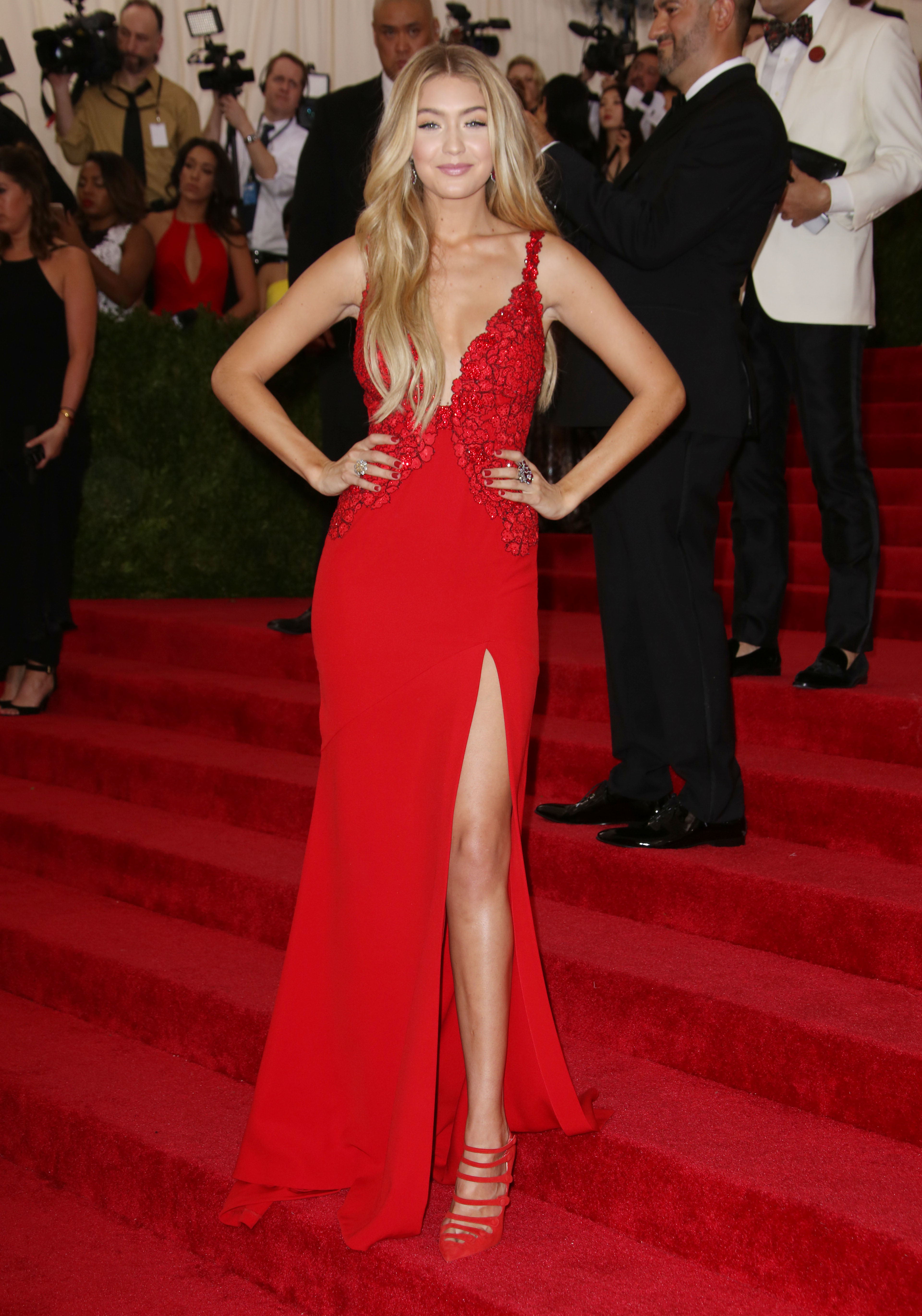 red carpet red dress