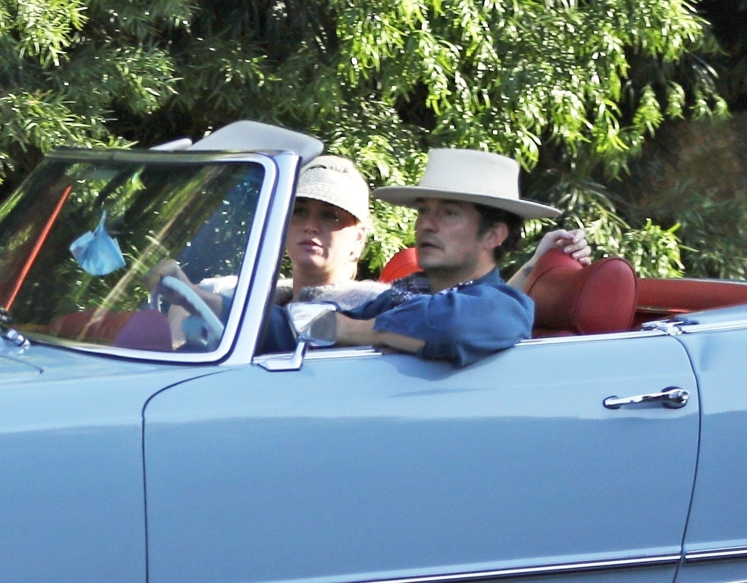 Katy Perry and Orlando Bloom take their new classic Mercedes for a test drive
