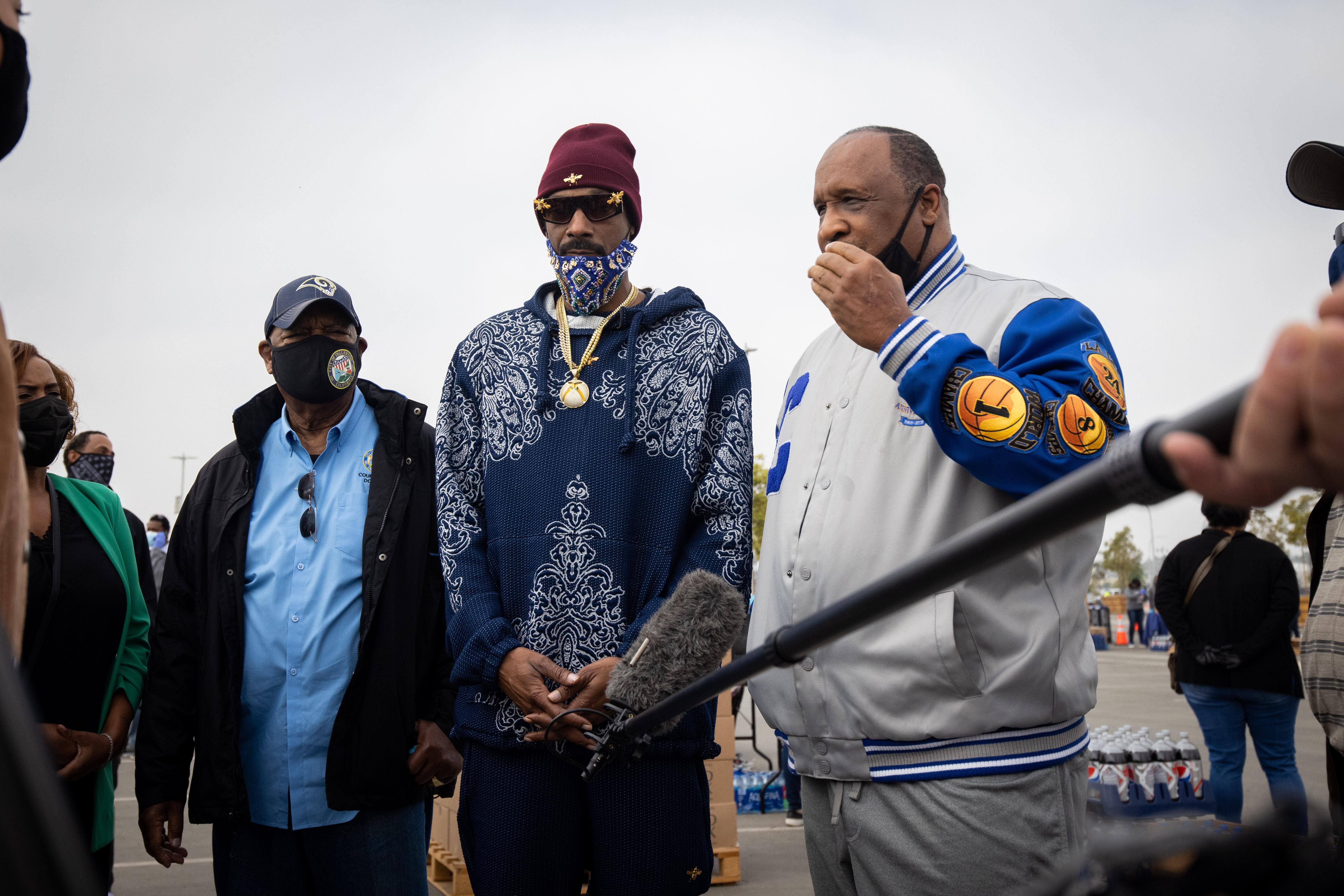 Snoop Dogg attends Drive-thru Turkey Distribution