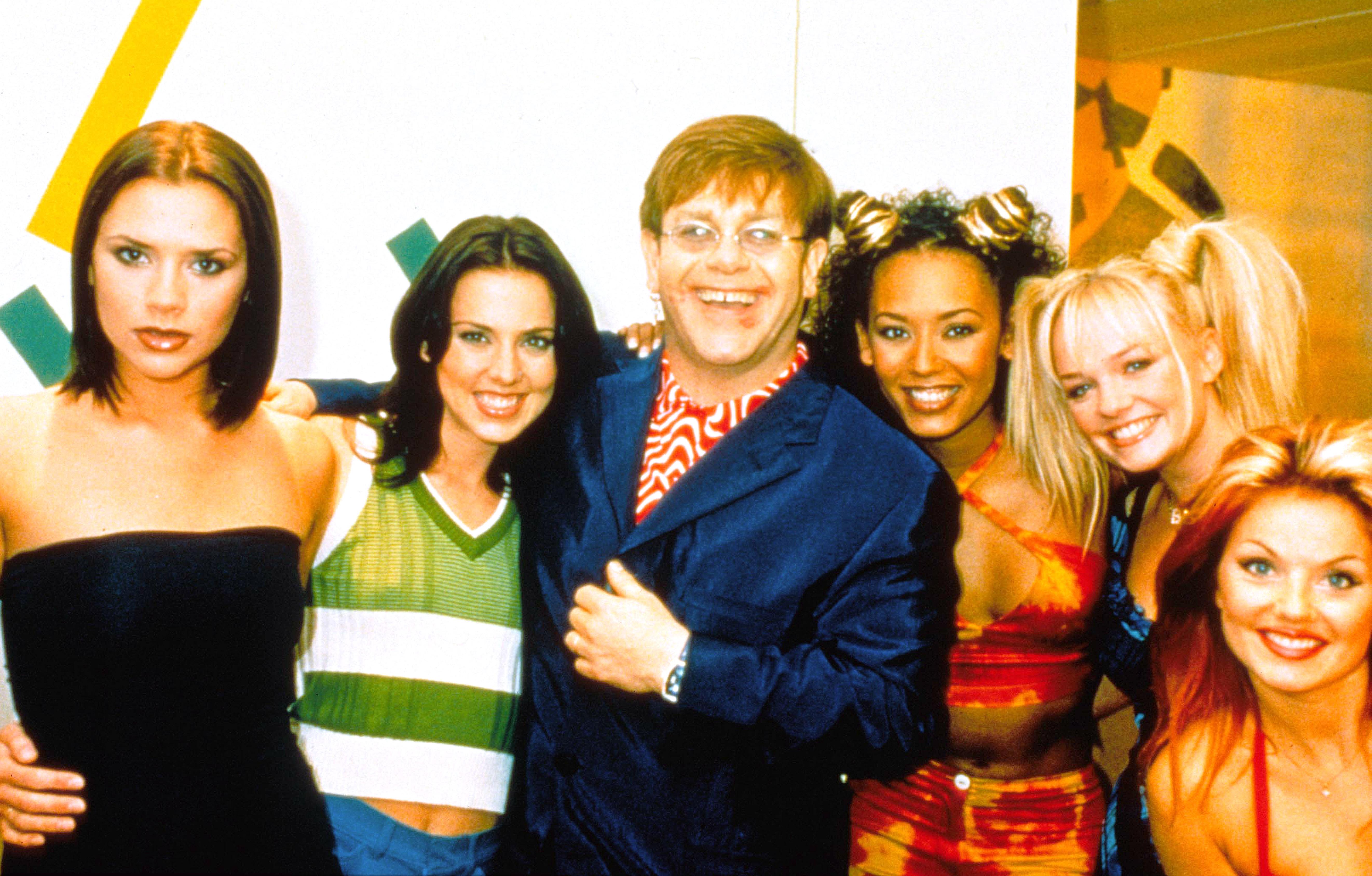Spice World, Victoria Beckham, Melanie Chisholm, Elton John, Mel B., Elton John, Emma Bunton, Geri Halliwell