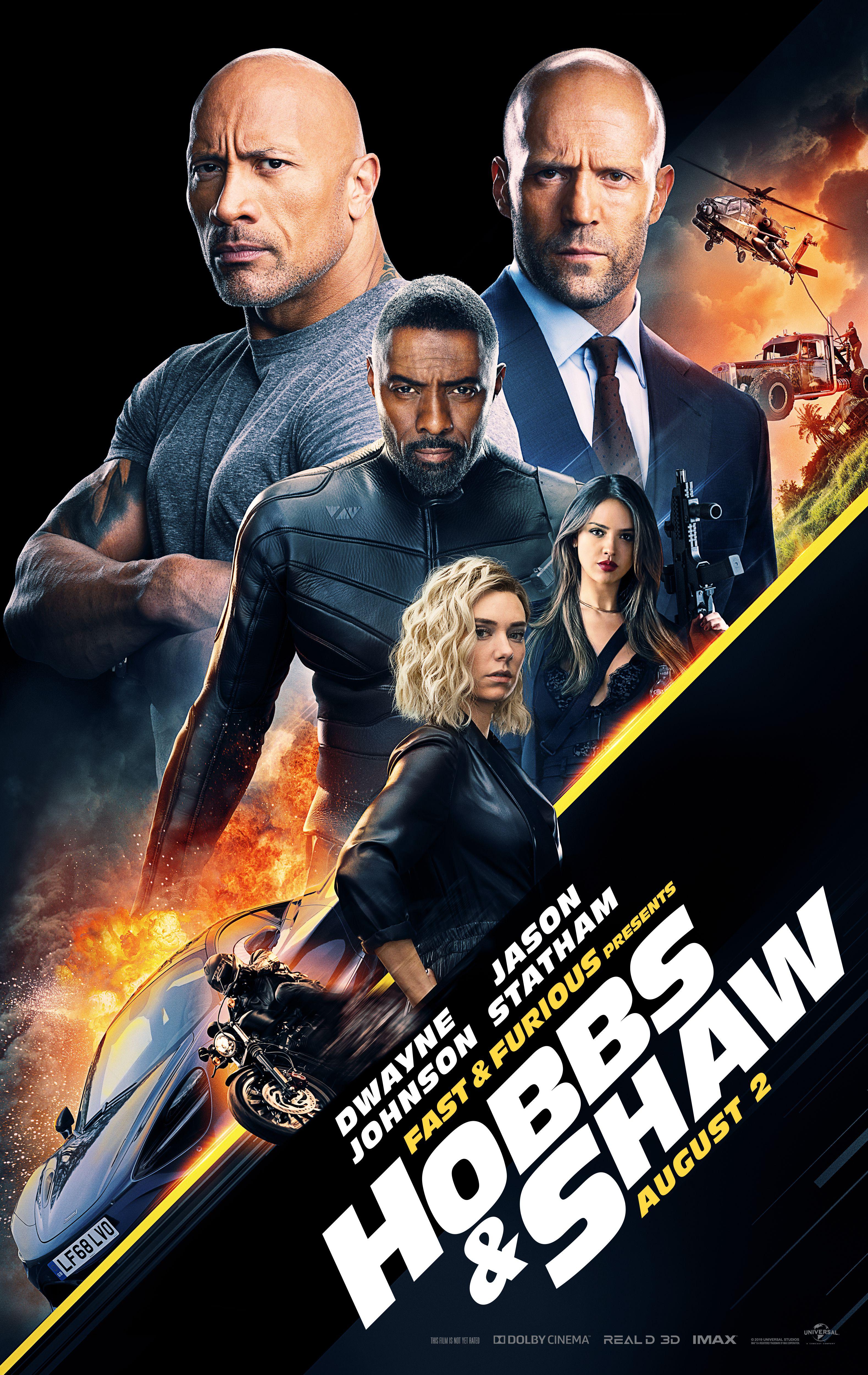 Hobbs & Shaw poster Dwayne Johnson, Idris Elba, Jason Statham, Vanessa Kirby, Eiza Gonzalez